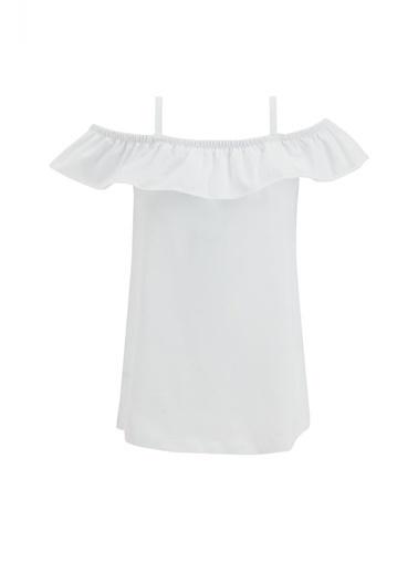 DeFacto Kız Çocuk İnce Askılı Volanlı Bluz Beyaz